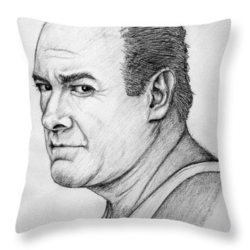 Throw Pillow featuring the drawing James Gandolfini by Patrice Torrillo