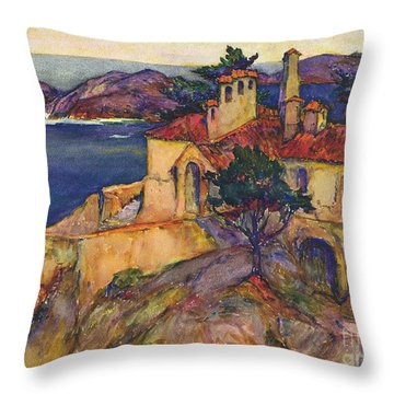 James House Carmel Highlands California By Rowena Meeks Abdy 1887-1945  Throw Pillow by California Views Mr Pat Hathaway Archives