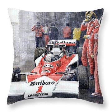 James Hunt Monaco Gp 1977 Mclaren M23 Throw Pillow