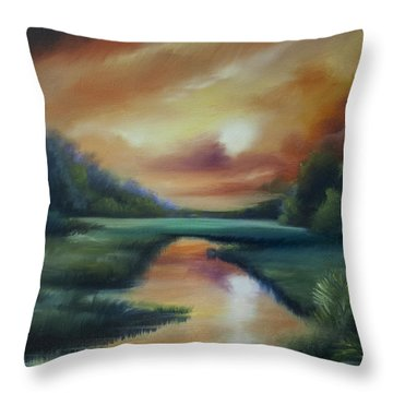 James Island Marsh Throw Pillow by James Christopher Hill