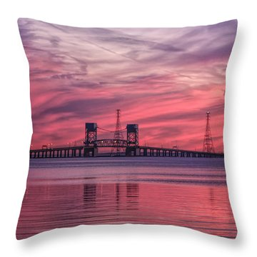 Throw Pillow featuring the photograph James River Bridge At Sunset by Ola Allen