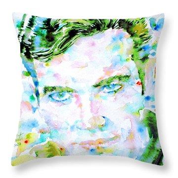 James T. Kirk - Watercolor Portrait Throw Pillow by Fabrizio Cassetta