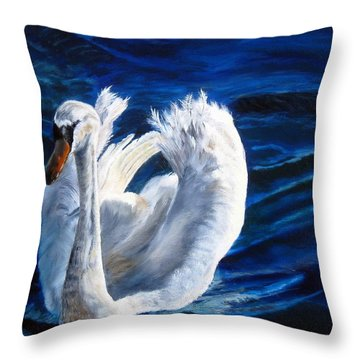 Jamie's Swan Throw Pillow by LaVonne Hand
