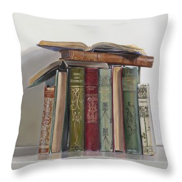 Throw Pillow featuring the painting Jane Austen by Gail Chandler