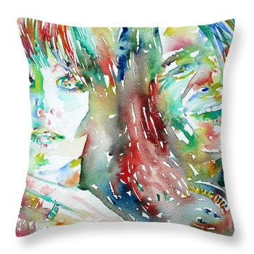 Janis Joplin And Grace Slick Watercolor Portrait.1 Throw Pillow