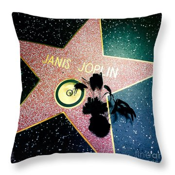 Janis Joplin Throw Pillow by Nina Prommer