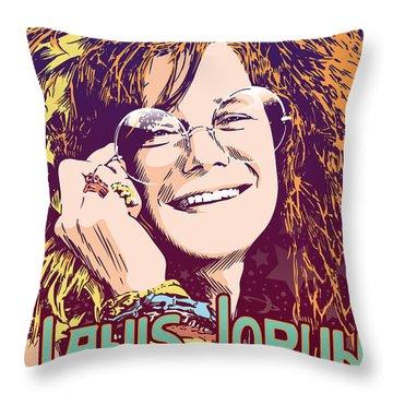 Janis Joplin Pop Art Throw Pillow
