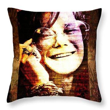 Janis Joplin - Upclose Throw Pillow