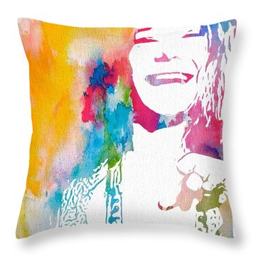 Janis Joplin Watercolor Throw Pillow