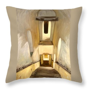 Throw Pillow featuring the painting Jantar Mantar Staircase by Mukta Gupta