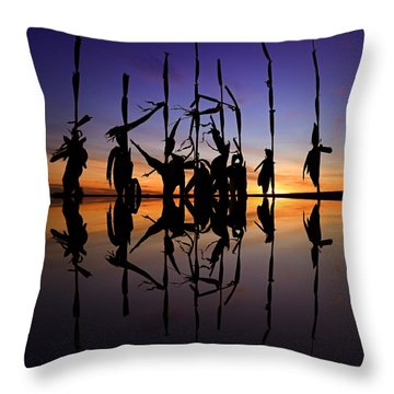 Throw Pillow featuring the photograph January Cornstalks by Jaki Miller