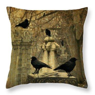 Crows Mingling Throw Pillows