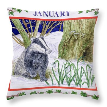 January Wc On Paper Throw Pillow