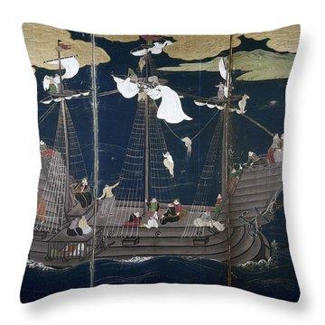 Japan Portuguese Ship Throw Pillow