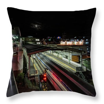 Japan Train Night Throw Pillow