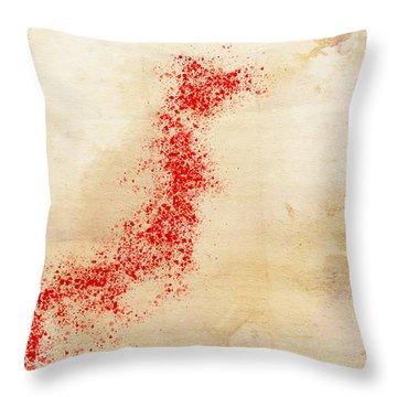 Japan Watercolor Map Throw Pillow