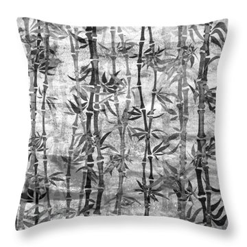 Japanese Bamboo Grunge Black And White Throw Pillow
