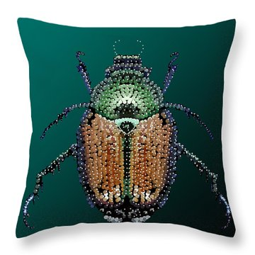 Japanese Beetle Bedazzled II Throw Pillow