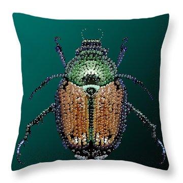Japanese Beetle Bedazzled II Throw Pillow