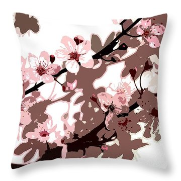 Japanese Blossom Throw Pillow by Sarah OToole