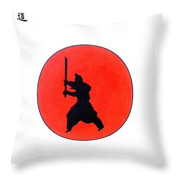 Japanese Bushido Way Of The Warrior Throw Pillow by Gordon Lavender