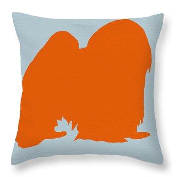 Japanese Chin Orange Throw Pillow by Naxart Studio