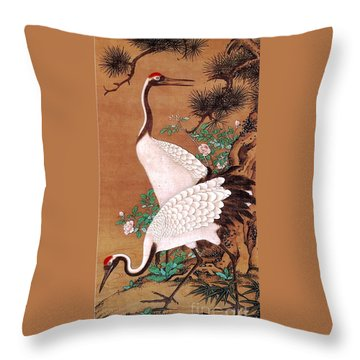 Japanese Cranes Throw Pillow by Roberto Prusso