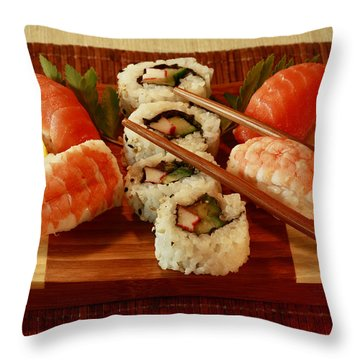 Japanese Cuisine Throw Pillow by Inspired Nature Photography Fine Art Photography