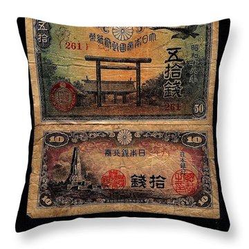Japanese Currency From World War II Throw Pillow by Diane Strain
