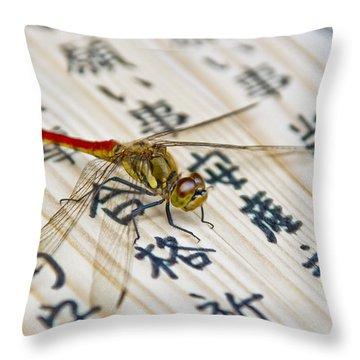 Japanese Dragonfly Throw Pillow