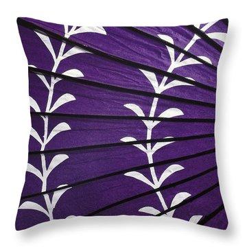 Japanese Folk Art - Purple Parasol Throw Pillow