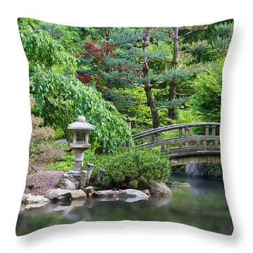 Japanese Garden Throw Pillow by Adam Romanowicz