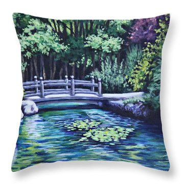 Throw Pillow featuring the painting Japanese Garden Bridge San Francisco California by Penny Birch-Williams