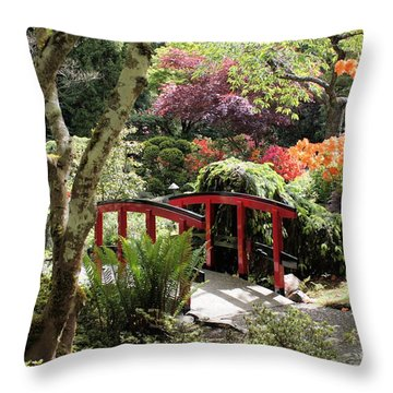 Japanese Garden Bridge With Rhododendrons Throw Pillow by Carol Groenen