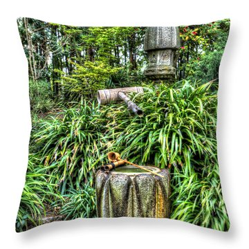 Japanese Garden Fountain Throw Pillow by Heidi Smith