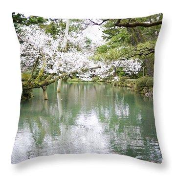 Japanese Garden  Throw Pillow by Moshe Torgovitsky