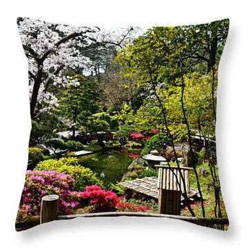 Japanese Gardens Throw Pillow by Holly Blunkall