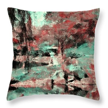 Japanese Garden's Throw Pillow by Kathleen Struckle