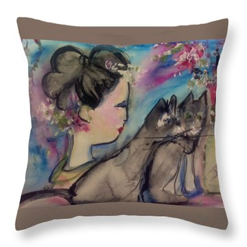Japanese Lady And Felines Throw Pillow