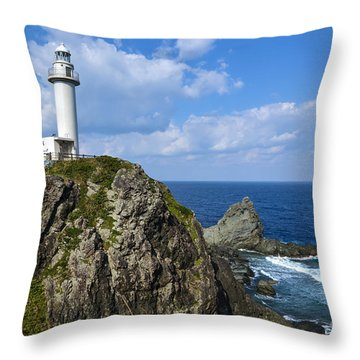 Japanese Lighthouse At Uganzaki Throw Pillow