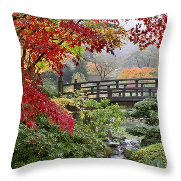 Japanese Maple Trees By The Bridge In Fall Throw Pillow