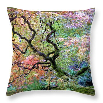 Throw Pillow featuring the photograph Japanese Maple by Wendy McKennon