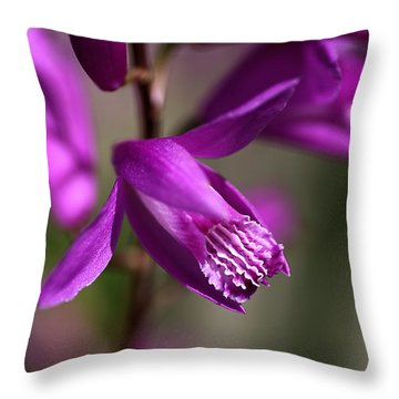 Throw Pillow featuring the photograph Japanese Orchid by Joy Watson