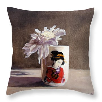 Japanese Saki Cup With Chrysanthemum Throw Pillow