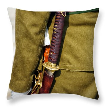 Japanese Sword Ww II Throw Pillow by Thomas Woolworth