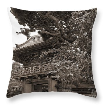 Japanese Tea Garden Pagoda In Sepia. Golden Gate Park Throw Pillow by Connie Fox