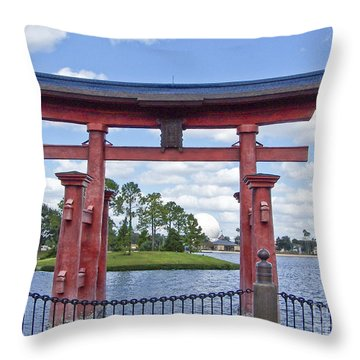 Japanese Torri Gate At Epcot Throw Pillow