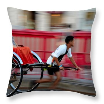Japanese Tourists Ride Rickshaw In Tokyo Japan Throw Pillow