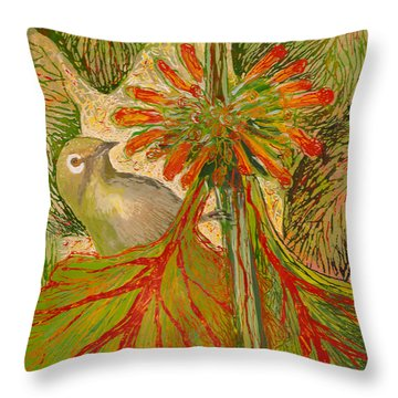 Throw Pillow featuring the painting Japanese White Eye by Anna Skaradzinska