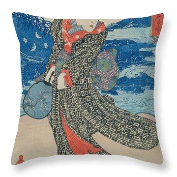 Japanese Woman By The Sea Throw Pillow by Utagawa Kunisada